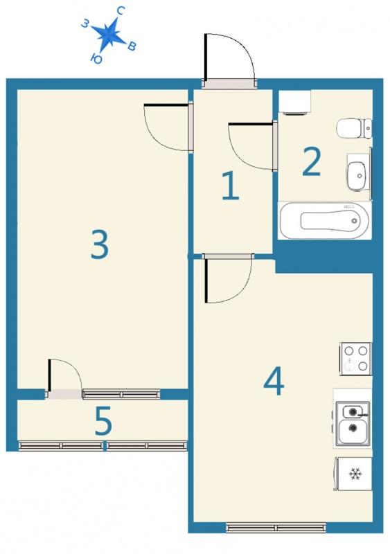 Планировка Однокомнатная квартира площадью 42.05 кв.м в ЖК «Дом На Космонавтов»