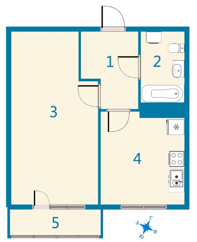 Планировка Однокомнатная квартира площадью 43.91 кв.м в ЖК «Дом На Космонавтов»