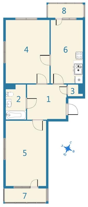 Планировка Двухкомнатная квартира площадью 72.68 кв.м в ЖК «Дом На Космонавтов»